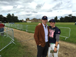 Timothy Harfield, author of              Horsehubby.com, with his wife, eventer Elisa Wallace on a recent trip to England where Wallace participated in the      Blenheim Palace Horse Trials. (Photo: Rick Wallace)