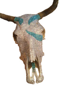 Rhinestone Cowgirl owner Jen Telgen placed 5,500 crystals on this cow skull to make it into a work of art for a client.