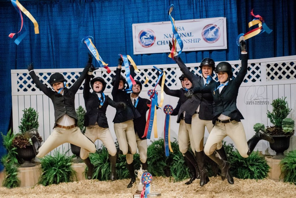 The SCAD riders celebrate after securing their tricolor ribbons for the IHSA huntseat team championship.
