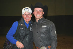 St. Andrews University Western Coach Carla Wennberg with Mark Mowbray, the team's open Western horsemanship rider.