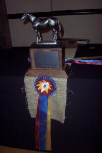 The championship trophy and one of the tricolor first place ribbons the team received for their Nationals win in May. (Photo by Liz Crumbly)